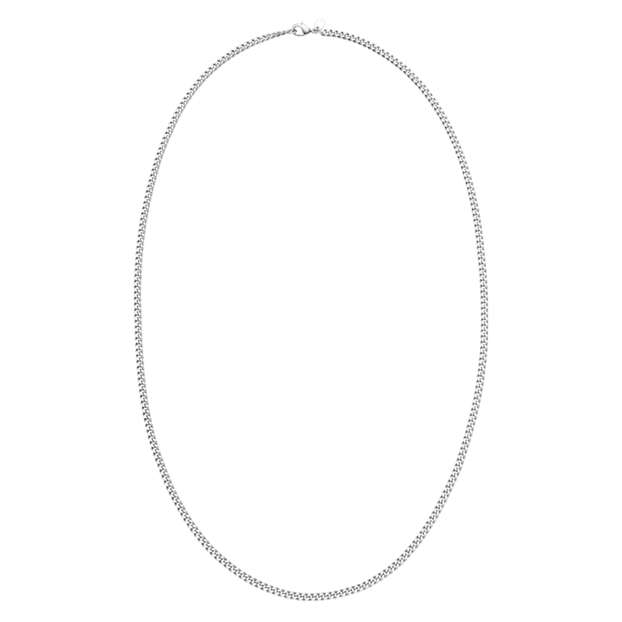 Long Curb Necklace Silver